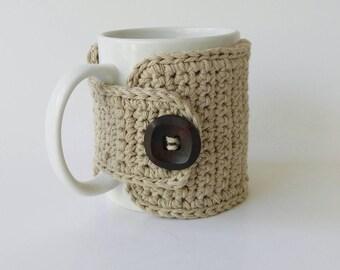 Coffee Cozy Beige Cotton Wooden Button