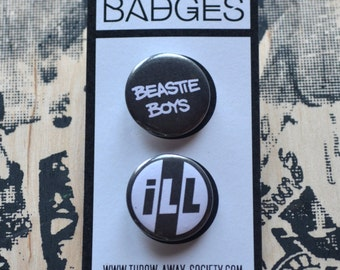 Set of 2 Beastie Boys Pin Badges License to Ill 25mm 1inch Badge