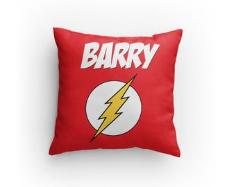 "The Flash Custom Pillow - 14"" x 14"" (NOT a Cover!) - Personalize with Name. Great Gift for any DC Comics Fan! Great Christmas Gift Idea!"