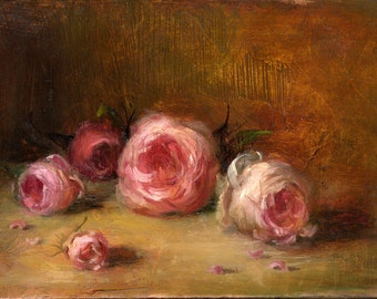 OIL Painting 5x7 in, ORIGINAL, Still Life, Floral, Painting by Bruno M Carlos