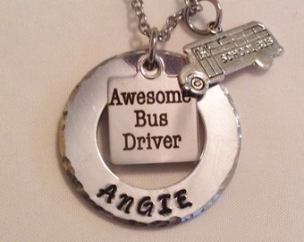 Bus driver necklace or keyring, awesome bus driver, school bus driver, schoolbus drivers, gifts for bus drivers, Christmas presents