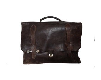 French Rustic Distressed Leather Satchel Messenger BAG