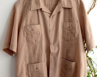 Embroidered guayabera (small stain, reduced price)