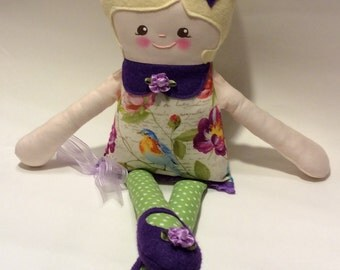 "Handmade Retro Mama Greta Cloth Doll 19"" Tatiana Plush Softie Rag Doll With Blonde Wool Felt Hair"