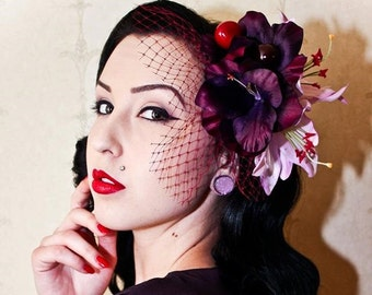 Rock Rockabilly Purple Deep Burgundy lily Flower fruit Fascinator headpiece