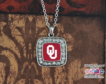 Oklahoma Sooners Square Necklace