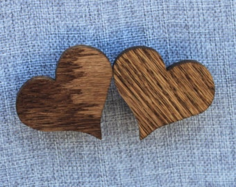 Pair of Handmade Wooden Heart Magnets