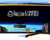 Camping Decal, Peace Love & Campfires, Camper Sticker, Nature Decal, Nature Lover Gift, Camping Decor, Vinyl Decal, Outdoors, AppleCopter