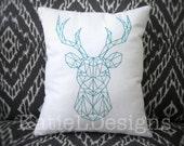 Redwork Geometric Stag Machine Embroidery Design Pattern Download Geo Deer Reindeer Christmas Modern 5 Sizes