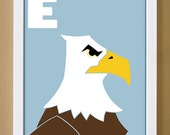 alphabet letter E, eagle, custom colors, bald eagle, children's letter art, letter print, nursery decor, kids initials, 4X6, 5X7, 8X10