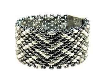 Bracelet - Monochromatic Dark Gray and Silver Geometric Beaded Bracelet, Gray Beaded Bracelet, Silver Seed Bead Bracelet, Wide Bead Bracelet