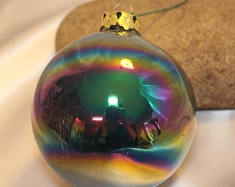 Vintage Blue and Multi-colored Christmas Ornament #1