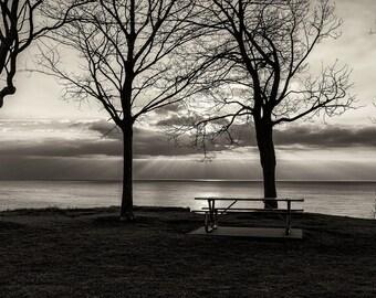 Landscape Photography, Lake Michigan, Clouds, Wisconson, Winter, Sunrise, Fine Art Black and White Photography, Wall Art, Home Decor
