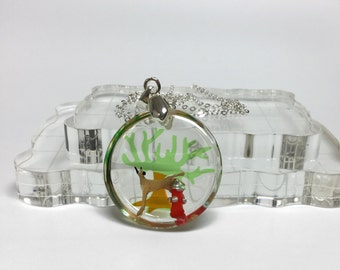 Doggy utilizes fire post round resin pendant, unique and humorous handmade jewlery, 925 sterling silver