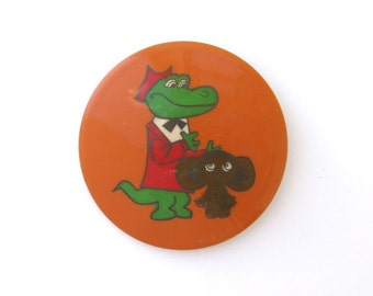 Cheburashka and Crocodile Gena, Character from soviet cartoon, Vintage collectible badge, Soviet Pin, Vintage Badge, Made in USSR, 1970s