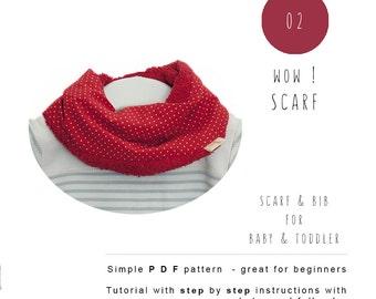Baby sewing patterns. Scarf Bib PDF. Baby scarf bib tutorial for instant download. Baby Toddler Children sewing pattern. Drool bib.