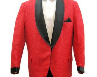 Vintage 60s 70s Dinner Jacket Men's Tux Tuxedo Blazer Red Formal Smoking 46 Short