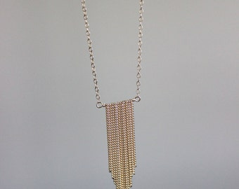 Chain Fringe Necklace - Minimalist Jewelry - 14k Gold Filled or Sterling Silver