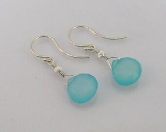 Chalcedony Briolette Earrings, Bride or Bridesmaid Earrings, Chalcedony Jewelry, Wedding Jewelry, Aqua Chalcedony Gemstone, Sterling Silver