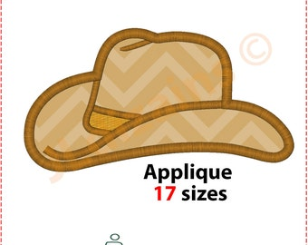 Cowboy Hat Applique Design. Cowboy hat embroidery design. Stetson hat applique. Stetson embroidery Applique cowboy Machine embroidery design