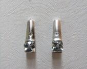 Reserved On Hold-14k White Gold Aquamarine Diamond Filigree Post Earrings 2.24g