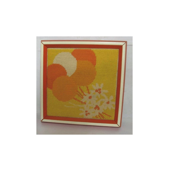 70s needlepoint picture in orange, yellow and white, orange frame. Vintage needlepoint, 70s wall decor, balloons, 70s framed needlepoint