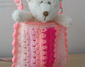 "SALE Crochet pink messenger bag, 18"" doll, small girl, adjustable strap, lined"