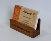 Personalised Business Card Holder - Laser Engraved Mahogany