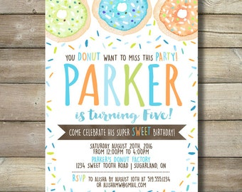 Donut Boy Birthday Party Invite Invitation Sprinkles Chocolate Candy Turquoise Blue Lime Green Orange Watercolor Do Not Doughnut Sweet Fun