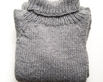 Oversized chunky hand knitted sweater in wool and alpaca | cozy and warm winter pullover | mod. ABETE