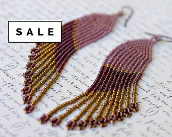 SALE: Seed Bead Earrings, Long Beaded Earrings, Fringe Earrings, Seed Bead Jewelry, Native American Beaded Earrings, Gold Earrings