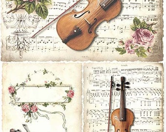 Rice Paper with Violin. Thin Rice Paper for Decoupage. Decorative Music Paper. Card Making Paper. VIOLIN #R374