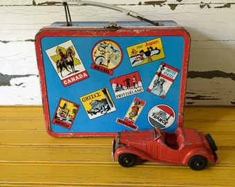 Vintage Metal Lunch Box With Travel Stickers Made by the Ohio Art Company in the 1960,s, Toy Suitcase, Lunch Box Collectible, Retro Decor