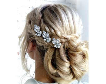 Set of 3 Bridal hair pin - Crystal and Pearl Bridal hair pin - Crystal and Pearl Bridal headpiece -  Wedding headpiece - Jeweled headpiece