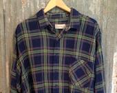 Soft Vintage Flannel - Oversized Flannel - Distressed Lumber Jack Style Big Comfy Size 2XL - Blues & Greens Plaid Hipster Vintage Flannel