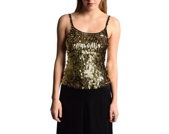 Metallic Gold Paillette Top 1990s Vintage Sequined Beaded Spaghetti Strap Tank Top Glam Disco Sparkly XS