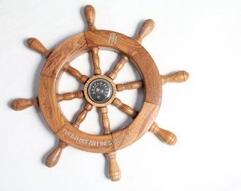 vintage steering wheel thermometer deco wall hanging sailor Poland baltic sea 70s Polish Ocean Lines Neptun Nautical