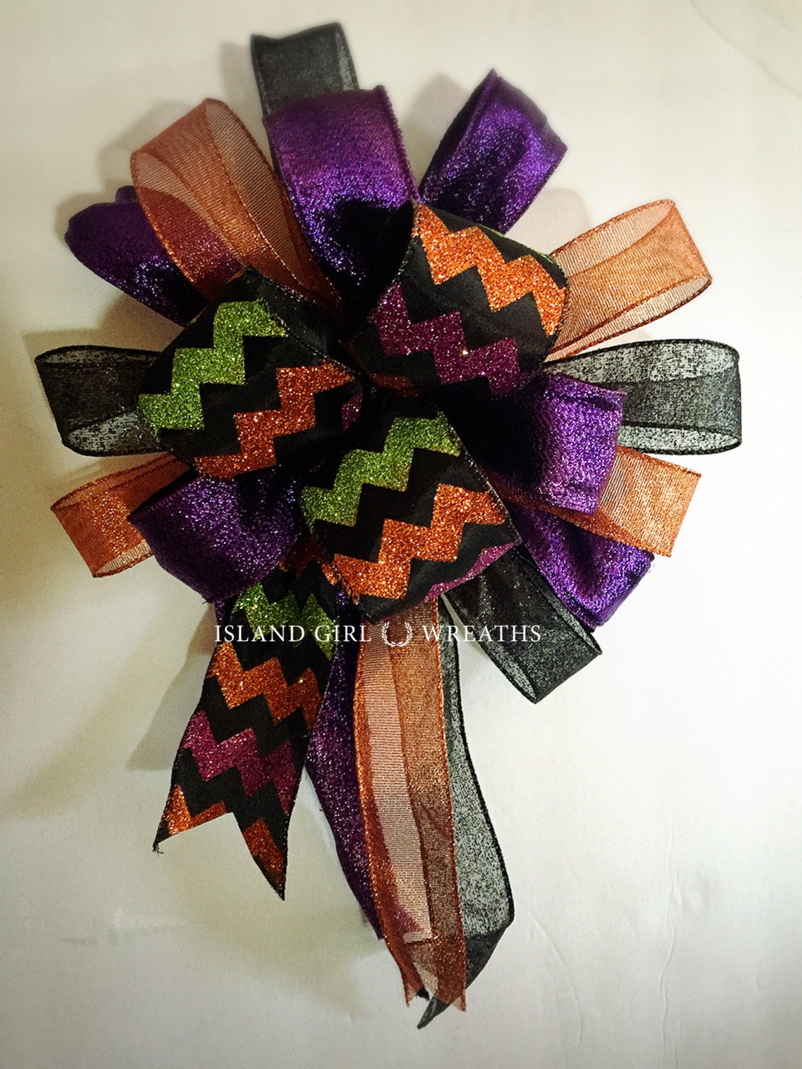 Halloween wreath bow wired ribbon