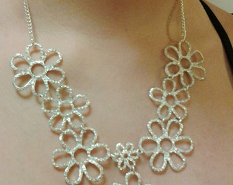 Silver Flowers with Crystal Clear Rhinestones Necklace / Bridesmaid  Bib Necklace.