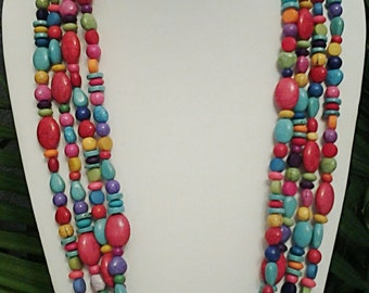 Multi Colored Long Statement Endless Infinity Beaded Necklace / Summer Necklace.