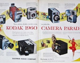 1960 Kodak Cameras Vintage Advertisement Picture Studio Wall Art Photography Decor Original Magazine Print Ad Photography Paper Ephemera