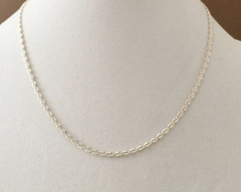 """Sterling Silver Modified Herringbone Necklace 18"""""""