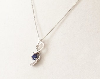 """Sterling Silver And 1 ct. Blue Sapphire With Silver Topaz Pendant Necklace 18"""""""