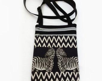 Black & White Zebras Handmade Pocket Shoulder Bag