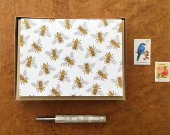 Honey Bees, Boxed Set of 8 Letterpress Cards, Blank Inside