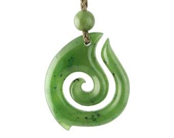 Canadian Nephrite Jade Koru Pendant
