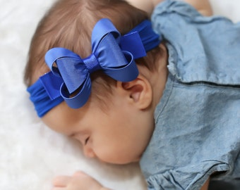 Royal Blue Big Bow Headband, Royal Blue Baby Headband, Royal Blue Baby Headband, Newborn Headband, Blue Bow Headband, Nylon Headband, 1431