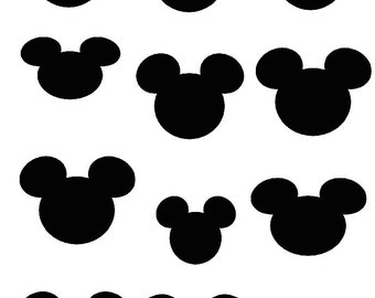Mickey Mouse Silhouettes 12 digital transfer image iron on printable instant download digital collage sheet