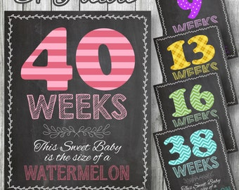 "Weekly Pregnancy Posters, 37 Patterned Posters Included! 8""x10"" & 11""x14"" included. Chalkboard Style, Weeks 5-41, DIGITAL PRINTABLE FILE"