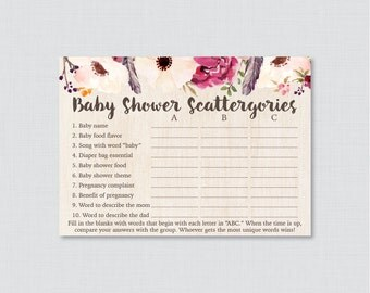 Boho Baby Shower Scattergories Game - Printable Download - Bohemian Baby Shower Game with Flowers and Feathers, Baby Scattergories ABC 0043